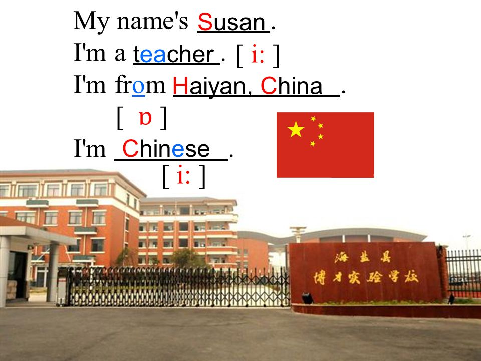 My name s . I m a . I m from . [ i: ] I m . [ ɒ ] [ i: ] Susan teacher